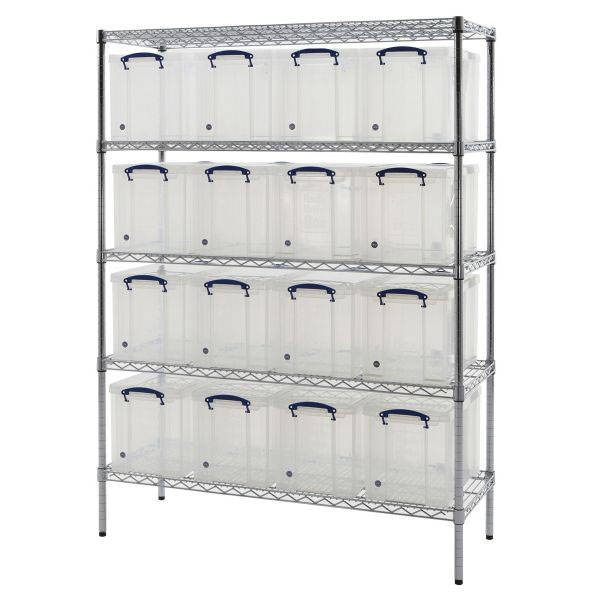 chrome shelving with 16 x 24 litre really useful boxes. Black Bedroom Furniture Sets. Home Design Ideas
