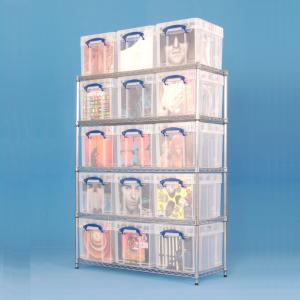 Chrome Wire Shelving (1220 x 455) 15 x 35XL litre Really Useful Boxes