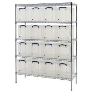 Chrome wire Shelving (1220 x 455) 16 x 24 litres Really Useful Boxes