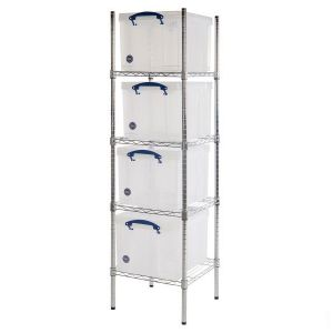 Chrome wire Shelving (455 x 455) 4 x 35 litre Really Useful Boxes