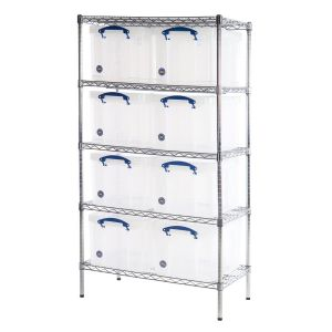 Chrome wire Shelving (915 x 455) 8 x 35 litre Really Useful Boxes